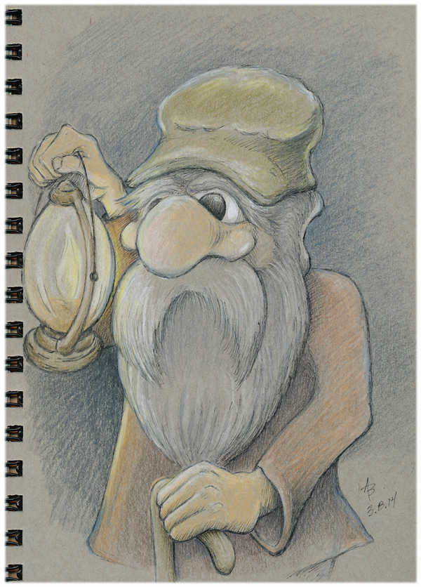 old man with a lantern